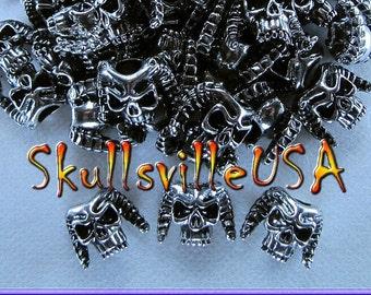 Horned Demon Skull Bead - Lanyard - Paracord - Leather - Jewelry - Key Fobs - European Bracelets - US Seller!