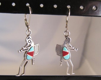 Native American - Zuni - Southwestern Sterling Silver and Multi Stone Inlay Figural Dangle Earrings    0896