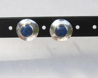 Southwestern Style - Modern - Sterling Silver and Lapis Modern Stud Earrings     1185 A