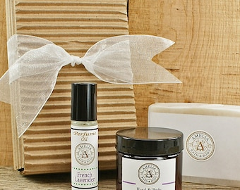 Natural Soap Gift Set | Lavender Oatmeal Soap, Body Lotion, Roll On Perfume Oil, Vegan Gift Idea, French Lavender Gift Set | Set of 3 Items