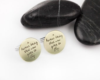 Given To Fly. Pearl Jam. Lyrics. Quotes. Music. Eddie Vedder. Brass. Gifts for Him. Groom Gifts. Mixed Metals. Sterling Silver Cufflinks.