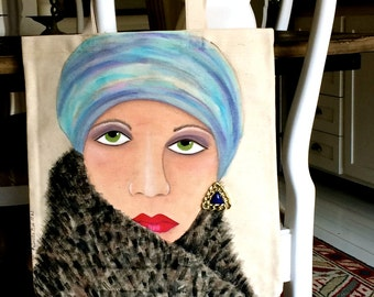 new..VANESSA TOTE, hand painted, funky earring, turban, blue, fur coat, mystery woman, handpainted tote, gift for her, canvas, shoe tote,