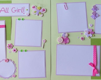 12x12 Premade Scrapbook Layout Pages - girl - PRINCESS -- She's ALL GIRL!  - baby girl, kid girl, butterfly, ladybug