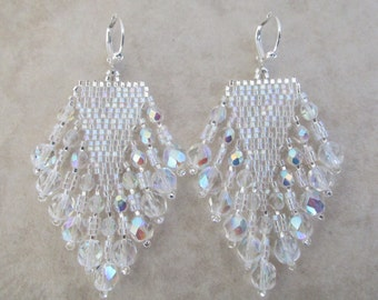 Seed Bead Fringe Earrings - Crystal AB