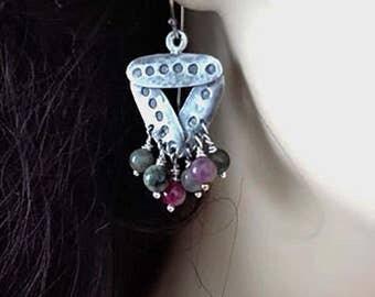 Beaded Triangle Earrings, Silver Triangle Earrings, Geometric Earrings, Multi Color Earrings, Dangle Earrings  Agate, Girlfriend Gift