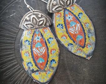 Tin Earrings, Kuchi, Banjara, Flower Jewelry, Flowers, Vintage, Unique, Organic, Primitive, Stamping, Recycled, Beaded Earrings