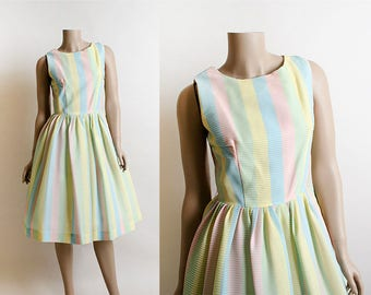 Vintage 1960s Dress - Striped Pastel Candy Colored Rainbow Textured Full Skirt Summer Dress - Light Rainbow - Small