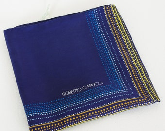 Roberto Capucci 1970's Vintage Large Navy Silk Hand Rolled Edge Designer Scarf