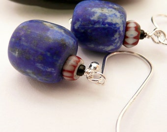 Artisan Matte Lapis African Trade Bead Sterling Silver OOAK Southwestern Western Tribal Boho Rustic Gift for Her Earrings