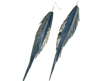 Leather Feather Earrings in grays and silvers.