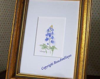 Bluebonnet Original Watercolor Texas Wildflower Painting ACEO Flower Floral Garden Housewarming Gift Miniature