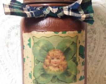 Jar Candle, Green Clover, St Patrick's Day, Mason Jar, Primitive Grungy Mason Jar, Moeggenborg Sugar Bush
