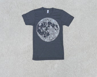 Mens Moon shirt - mens graphic tee - full moon screenprint on heather black - Fathers Day gift - astronomy shirt - t shirt men - lunar print