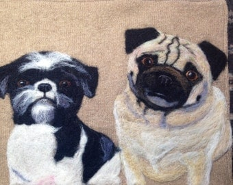 Taking NO RUSH Custom Orders -Personalized Needle Felted Pet Pillow featuring TWO Pets made of Recycled Sweater Fabric by Val's Art Studio