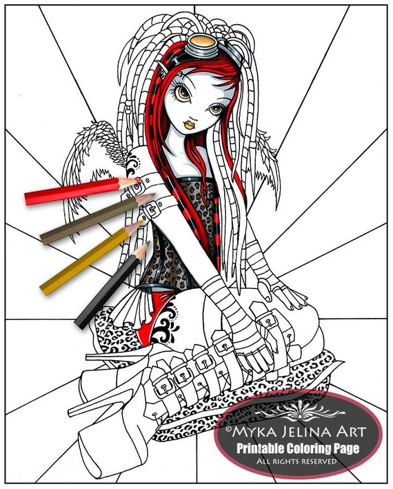 Crimson cybergoth angel fairy art digital download for Myka jelina coloring pages
