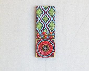 Suzani Art READY TO SHIP Vertical Wall Art Mosaic Wall Art Ceramic Wall Art Stick Mini Pattern & Texture Clay Tile Art Pottery Boho Decor