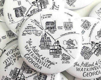 Watkinsville, Georgia Map Magnets