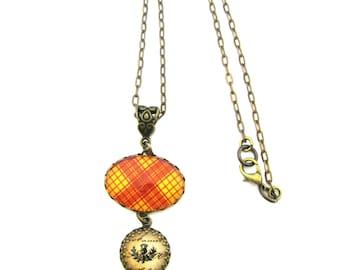 Scottish Tartan Jewelry - Ancient Romance Series - MacMillan Clan Tartan Necklace w/Thistle Charm & Onyx Black Czech Glass