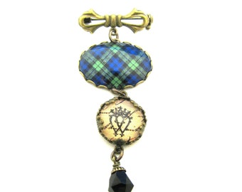 Scottish Tartan Jewelry - Black Watch Tartan Sweet Bow Brooch with Luckenbooth Charm & Onyx Black Czech Glass Crystal Bell Charm