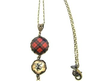 Scottish Tartan Jewelry - Campbell of Armaddie Clan Tartan Necklace w/Lion Rampant Charm and Onyx Black Czech Glass Bead
