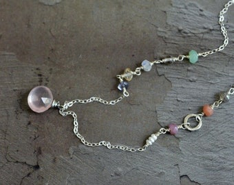Rose Quartz Necklace - Mixed Stone Colorful Necklace - Whimsical Necklace - Dainty Sterling Silver Necklace - Unique Gemstone Necklace