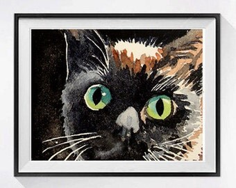 Black Cat Art Print | Nursery Room Decor, Green eyes, Watercolor prints, Animal art, Black kitty painting Black kitten art, Child's room