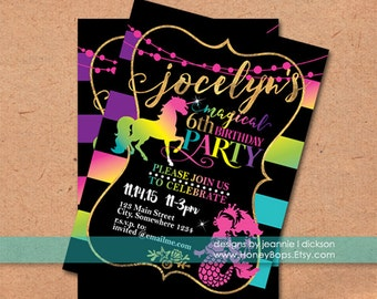 Unicorns and  Mermaids Rainbow, Faux Gold Foil Personalized Invitation - Digital File Only