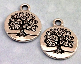 TierraCast Tree Of Life Charm, Antique Silver 2-Pc. TS18