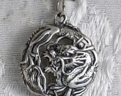 Medium Round Dragon Sterling Silver Pendant Charm