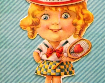 Vintage Valentine's Day Card Big Eyed Girl with Tennis Racket
