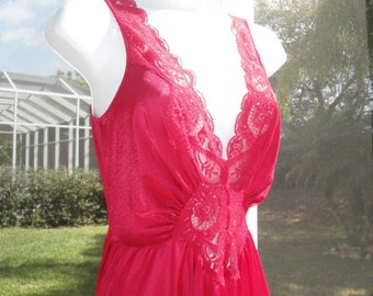 Vintage Olga Red Nylon sz Medium Nightgown Style 92280 Spandex mix low cut sexy V-neckline figure flattering full sweep skirt Made in USA