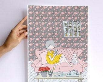 Print - Les petites - Tea time - cara carmina - illustration - - 10.6 x 13.8 inches - Fabriano paper