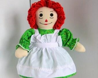 Raggedy Anne Doll - Traditional Handmade Cloth Doll
