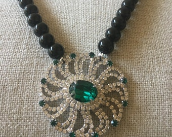 Vintage Rhinestone Emerald Green Brooch Pendant Beaded One of a Kind Statement Necklace