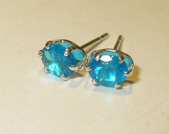 Special Listing for D - Neon Paraiba Blue Apatite Stud Earrings in Solid Sterling Silver