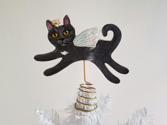 CAT TREE TOPPER Mini Gray Angel Cat Mini Tree Topper Fits