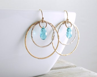 Gold Crystal Hoop Earrings Dangle Earrings Hoop Earrings Crystal Dangle Earrings Gold Crystal Earrings Gift For Women Holiday Gift For Her