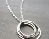 Silver Circle Necklace, Yoga Necklace, Sterling Silver Layered Circles, Layering Necklace, Inspiration Necklace
