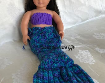Doll Costume, Mermaid Princess Costume, Handmade Crochet Doll Clothes, Purple  Blue Mermaid Costume for 18 inch Doll, Mermaid Tail for Doll