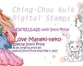 Intro Price 『Love Maneki-neko』 Instant Download Digital Stmap / Valentine Fortune Lucky Cat Japanese Kimono Dollie Girl by Ching-Chou Kuik