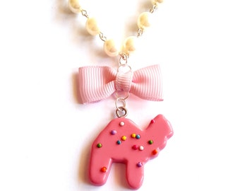 Circus Animal Cookies Necklace Frosted Animal Cookie Necklace Animal Crackers Kawaii Pink Cookie Miniature Food Jewelry Pinup Necklace