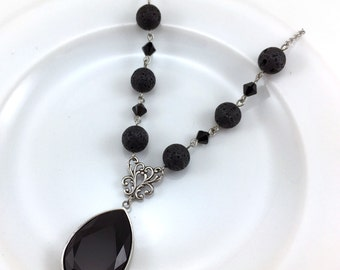 Essential Oil Necklace, Jet Black Crystal and Lava Necklace, Diffuser Jewelry, Lava Bead Jewelry, Aromatherapy Jewelry, Swarovski Crystals