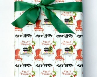 Christmas Wrapping Paper, Gift Wrap Paper, French Chair, Christmas Interior, Festive Holiday Red