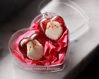 Christmas Earrings Christmas Jewelry Festive Heart Earrings Santa Claus Jewelry Santa Holiday Jewelry Red Jewelry Resin Jewelry isewcute