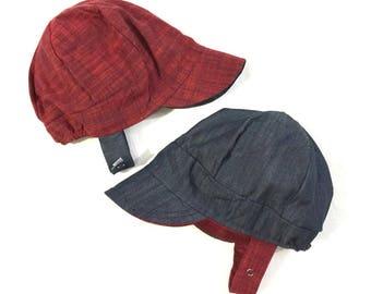 UB2 SAM a solid, thread-dyed, slug-woven chambray baby BOY newsboy sun hat in red & denim, by The Urban Baby Bonnet (all sizes)