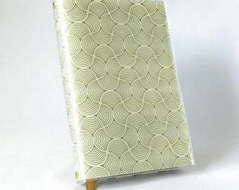 Paperback Book Cover - Reusable, Protective and Adjustable - Large Trade Size - Stylish Book Cover with Gold Deco Scallop Design on Cream