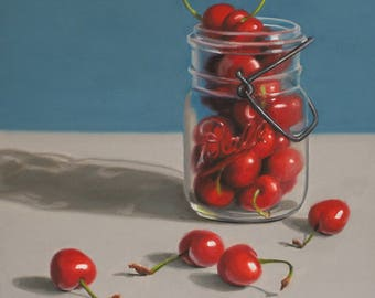 Cherries Ball Jar 8x8 original oil painting realistic still life by Nance Danforth