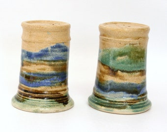 Vintage Pottery Salt & Pepper Shakers with Turquoise, Blue, and Brown Glaze