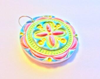 Daisy Rainbow Flower Handmade Polymer Clay Pendant