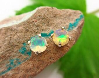 Opal Stud Earrings, Multicolor Earrings in 14k White Gold Screw Backs, 5mm
